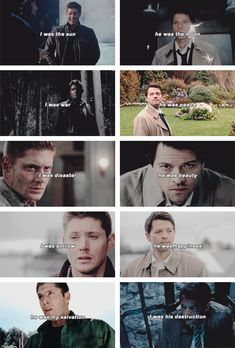 Dean + Castiel: I was the sun. He was the moon. I was war. He was peace. I was disaster. He was beauty. I was sorrow. He was happiness. He was my salvation. I was his destruction. #spn #destiel