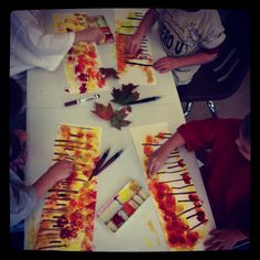 Kindergarten art project. Fall Trees.
