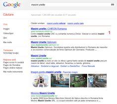 """Promovare reprezentanta CHIRON Romania. Prima pozitie in Google (cautari organice) la cuvantul cheie """"masini unelte""""."""