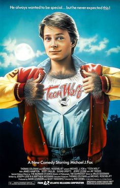 "Poster for the original comedy ""Teen Wolf"", starring Michael J. Fox at the height of his fame. Unlike the current TV series it spawned, this was decidedly unscary, played for laughs and the werewolf was benevolent. But still ugly, à la Lon Chaney."