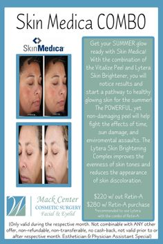 Skin Medica in Tampa. Vitalize Peel and Lytera by #skinmedica. Discount, sale, skin care special in South Tampa. www.mackmd.com May only!