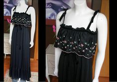 tage Black 1970s Vicky Vaughn Long Maxi Prairie Dress Beautiful Pink Floral Embroidery Eyelet Ruffle Great For Spring by WestCoastVintageRSL, $32.00
