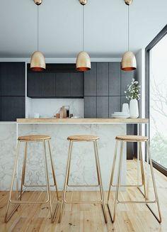 küche theke hocker hängende lampen