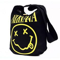 Nirvana Graphic Tote Messenger Bag (27 AUD) ❤ liked on Polyvore featuring bags, messenger bags, handbag tote, blue bag, handbags tote bags, courier bags and messenger tote bag