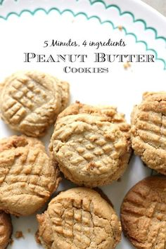 Easy Peanut Butter Cookie Recipe without flour (Only 4 Ingredients) - You can be enjoying these in minutes! This easy peanut butter cookie recipe without flour is rich, - Cookie Recipe Without Baking Soda, Easy Cookie Recipes, Baking Recipes, Dessert Recipes, Trifle Desserts, Baking Without Butter, Baking Ideas, Free Recipes, Flourless Peanut Butter Cookies