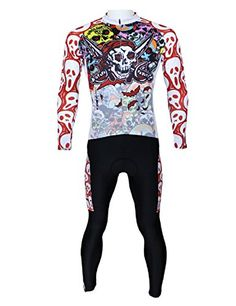 Paladin Breathable Mens Long Sleeve Cycling Jersey Set Pirate Pattern Tight  Design Size XXL -- c1ab7d363