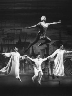 "Actress Mary Martin Gives kids a Flying Lesson in the Broadway Production of Musical ""Peter Pan"" Premium Photographic Print by Allan Grant at AllPosters.com"