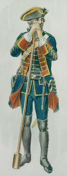 """Gunner, Royal Artillery, 1751-1764 - """"This British artilleryman wears the blue coat of the Royal Regiment of Artillery. Gunners in most European armies wore dark-coloured clothing to disguise the dirt and grime that soon disfigured anyone firing artillery using gunpowder propellant. The yellow lace was added to the uniforms in 1750, and this pattern of clothing was worn from 1751 to 1764."""""""