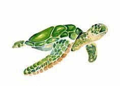 TORTUGA - ACEO decoración-arte imprimir-para niños-niños pared arte arte-vivero-amante de los animales
