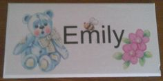 Cute teddy bear door plaque, personalised with your child's name. Handmade by Conscious Crafty living with neuralgia and bulging discs Bedroom Door Signs, Bedroom Doors, Personalized Plaques, Childrens Gifts, Kids Bedroom, Winnie The Pooh, Teddy Bear, Handmade Gifts, Check