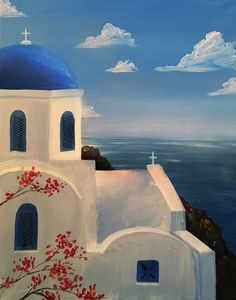 Santorini II at La Pinata Fremont - Paint Nite Events near Fremont, CA> Canvas Painting Tutorials, Acrylic Painting Canvas, Acrylic Art, Beach Canvas Paintings, Greek Paintings, Building Painting, Small Canvas Art, Greek Art, Oil Pastel Drawings