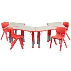 Flash Furniture YU-YCY-091-0034-TRAP-TBL-RED-GG Red Trapezoid Plastic Activity Table Configuration with 4 School Stack Chairs