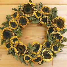 la campagna dried sunflower wreath