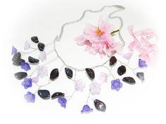 FREE SHIPPING  Lilac Pink Bridal Necklace  Bib by YarinkaHobbie, $30.00