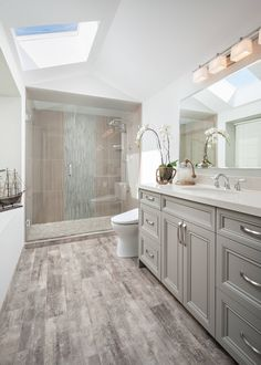 42 Chic Design Ideas to Rejuvenate Your Master Bathroom is part of Grey bathrooms Are you in a bit of a rut with your master bathroom With all the expenses many of us have to face in our daytoday l - Bathroom Vanity Designs, Bathroom Interior Design, Modern Bathroom, Bathroom Vanities, Light Gray Bathrooms, Minimalist Bathroom, Bathroom Storage, Grey Bathroom Vanity, Bathroom Hacks