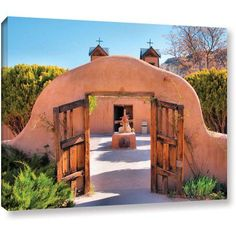 ArtWall Gate To Chimayo by Steve Ainsworth 2 Piece Photographic Print on Gallery Wrapped Canvas Set Canvas Artwork, Canvas Frame, Canvas Size, Future House, Hacienda Style Homes, Earthship Home, Earthship Design, Mexico House, Adobe House