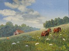 Tennessee Hillside Horses by Tommy Thompson ~ 30 x 40 Oil, Sold. I was commissioned by a Franklin, TN, couple to create this impressionistic landscape painting in oil. The scene includes a rustic cabin and three beautiful horses that I found near Pulaski, TN.
