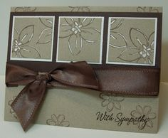 handade card found on i STAMP by Nancy Riley ... kraft with chocolate and white ... gel pen accenting makes stamped flowers pop ... Stampin' Up!