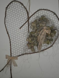 Using chicken wire and twigs to make natural art