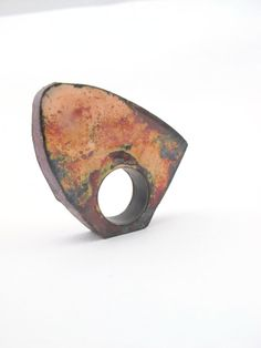 Time, ring by Natalie Araya. Copper, enamel.