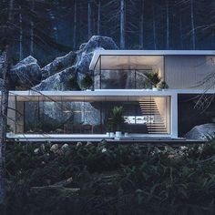 Would you feel safe living in a forest such as here? Tag who you'd bring along… Would you feel safe living in a forest such as here? Tag who you'd bring along ? – HOUSE IN THE PINEWOOD Designed by Roman Kupriyan ? Residential Architecture, Contemporary Architecture, Interior Architecture, Contemporary Design, Forest House, Design Hotel, Modern House Design, Modern Glass House, Glass House Design