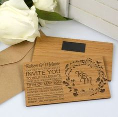 11B Engraved Horizontal Wooden Wedding Invitations