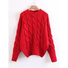 Cable Knit Drop Shoulder Jumper Sweater (690 UAH) ❤ liked on Polyvore featuring tops, sweaters, red, long sleeve pullover sweater, red sweater, crew neck sweaters, long sleeve tops and crew-neck sweaters