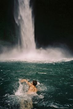 Swimming to the falls
