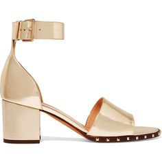 Valentino Rockstud metallic leather sandals ($995) ❤ liked on Polyvore featuring shoes, sandals, gold, leather sandals, leather strap sandals, shiny shoes, polish shoes and strap sandals