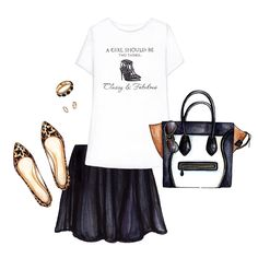 White printed quote t-shirt, little black skirt, leopard flat, bag with sunglass