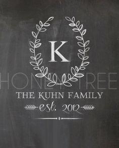 CUSTOM Chalkboard Print- 8x10 Family monogram with leaf frame last name & year on Etsy, $15.00