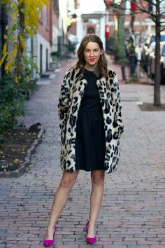 Holiday/winter outfit: Animal print coat and little black dress