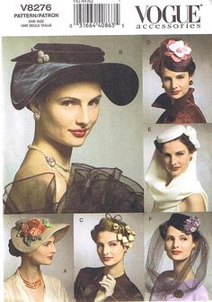 """Vintage hat pattern - Vogue  Never made a hat---maybe they'll come back into """"vogue""""."""