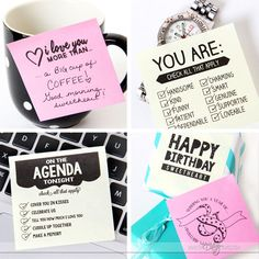 Printable Sticky Love Notes to leave around the house :) notes Printable Love Sticky Notes For Him or Her - The Dating Divas My Husband Quotes, Love You Husband, Husband Gifts, Birthday Gifts For Boyfriend, Boyfriend Gifts, Cute Boyfriend Notes, Stocking Stuffers For Boyfriend, Project Life, Pinterest Valentines
