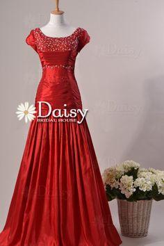 Delicate Modest Prom Dress,Long Carmine Red Prom Dress,Jewelled Red Prom Dress,Modest Prom Dress,Vintage Party Dress, Prom Dress(PR1136127)