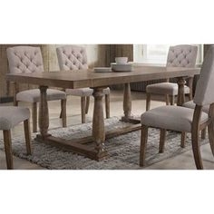Acme Bernard Rectangular Dining Table in Weathered Oak Rustic Dining Room Sets, Rustic Table, Dining Room Table, Dining Room Furniture Design, Round Dining Set, Weathered Oak, Room Decor, Walmart, Rustic Modern