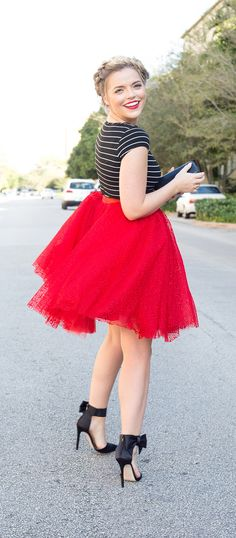 Whimsical Valentine | Red Lace Tulle Skirt