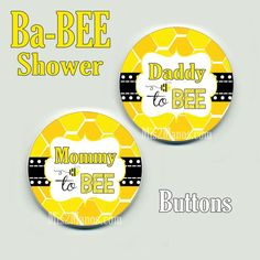 Bee Button Badge Baby Shower Pin Back Button by M2MPartyDesigns at https://www.etsy.com/listing/218064216/