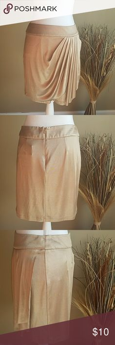 NWT Cache Gold Skirt Silky gold zip up pleated skirt. Size small, feel free to ask for measurements. So soft!! Would go amazing with a sweater and heels!!! Cache Skirts