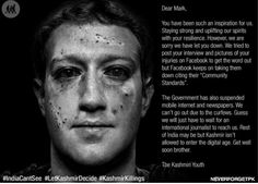 Mark Zuckerberg's face become a gruesome meme in the online batter over Kashmir.
