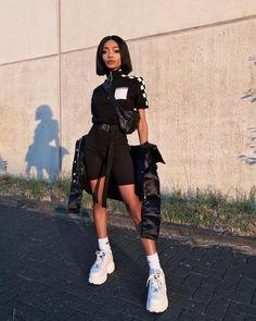 NYANE 💜 Club Outfits For Women, Teen Fashion Outfits, Edgy Outfits, Retro Outfits, Grunge Outfits, Cute Casual Outfits, Short Outfits, Summer Outfits, Black Women Fashion