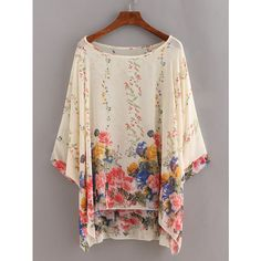 Flower Print Chiffon Poncho Blouse - Beige ($22) ❤ liked on Polyvore featuring tops, blouses, floral print blouse, collar blouse, print blouse, beige blouse and pink blouse