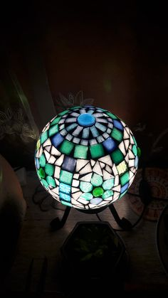Mosaic Glass, Mosaic Tiles, Stained Glass, Mosaic Bowling Ball, Garden Totems, Baubles And Beads, Girl Day, Recycled Crafts, Lanterns
