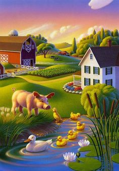 Artist: Robin Moline Uses a combination of airbrushing and acrylic paints in her works. For more on her portfolio visit her website ( . Farm Cartoon, Diy Photo, Beautiful Flowers Wallpapers, Farm Art, Art Pictures, Photos, Country Art, Naive Art, Flower Wallpaper