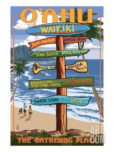 Waikiki, Oahu, Hawaii - Sign Destinations Art Print by Lantern Press at Art.com