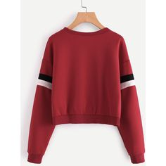 SheIn(sheinside) Contrast Striped Sleeve Sweatshirt ($15) ❤ liked on Polyvore featuring tops, hoodies, sweatshirts, striped top, red sweatshirt, red pullover, red top and polyester sweatshirt