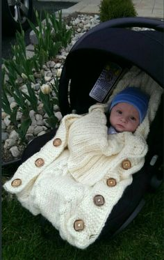 Knitted baby car seat bag by knitsbylana on Etsy