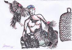 balinese traditional gambling, #ballpoint #artwork by me