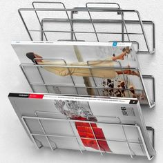 Spectrum Diversified File Holder and Magazine Rack, 3 Tiers, Wall Mount, Chrome Wall Mounted Plant Holder, Wall File Holder, Mail Holder, Letter Holder, Office Wall Organiser, Wall Organization, Household Organization, Office Storage, Magazine Rack Wall