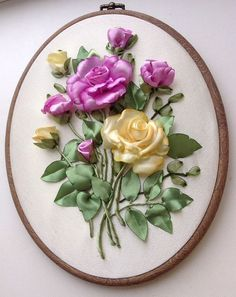 Wonderful Ribbon Embroidery Flowers by Hand Ideas. Enchanting Ribbon Embroidery Flowers by Hand Ideas. Ribbon Embroidery Tutorial, Silk Ribbon Embroidery, Embroidery Art, Cross Stitch Embroidery, Embroidery Designs, Embroidery Bracelets, Cross Stitches, Applique Designs, Ribbon Art